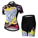 Χαμηλού Κόστους Τζάκετ Ποδηλασίας-21Grams Ουράνιο Τόξο Νεωτερισμός Γυναικεία Κοντομάνικο Φανέλα και σορτς ποδηλασίας - Μαύρο / Κίτρινο Ποδήλατο Ρούχα σύνολα Αναπνέει Ύγρανση Γρήγορο Στέγνωμα Αθλητισμός Ελαστίνη Τερυλίνη