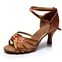 Χαμηλού Κόστους Παπούτσια χορού λάτιν-Γυναικεία Παπούτσια Χορού Σατέν Παπούτσια χορού λάτιν Τακούνια Λεπτή ψηλή τακούνια Εξατομικευμένο Καφέ / Επίδοση