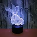 billige mp3 spiller-nye bunny 3d-lys fargerike touch-ledet visjon dekorative 3d nattlys