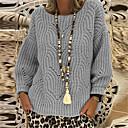 povoljno Viseća rasvjeta-Žene Jednobojni Dugih rukava Širok kroj Pullover Džemper od džempera, Okrugli izrez Jesen / Zima Crn / Blushing Pink / Bijela S / M / L