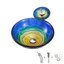 Χαμηλού Κόστους Παιδικά πέδιλα-boweiya κατασκευαστής παρτίδες bwy19-148 ένα απλό hot-λειωμένο τριαντάφυλλο-μπλε-κίτρινο λεκάνη στρογγυλής λεκάνης υαλοκαθαρισμένη γυάλινη με βρύση βραχίονα βρύση βραχίονα