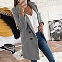 Χαμηλού Κόστους Συνθετικές περούκες χωρίς σκουφί-Γυναικεία Καθημερινά Φθινόπωρο & Χειμώνας Κανονικό Παλτό, Μονόχρωμο Κλασικό Πέτο Μακρυμάνικο Πολυεστέρας Μαύρο / Κίτρινο / Θαλασσί