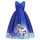 povoljno Stole za vjenčanje-Djeca Djevojčice Aktivan slatko Snowflake Božić Print Kratkih rukava Midi Haljina Plava