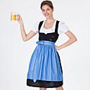 baratos Oktoberfest-Oktoberfest Dirndl Trachtenkleider Mulheres Vestido Bávaro Ocasiões Especiais Azul Verde Vermelho