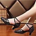 povoljno Obuća za dvoranski ples i moderne plesove-Žene Plesne cipele PU Moderna obuća Štikle Debela peta Moguće personalizirati Crn / Srebro