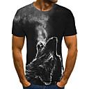 billige Magnetiske leker-T-skjorte Herre - Geometrisk / 3D / Dyr, Flettet / Trykt mønster Gatemote Ulv Mørkegrå