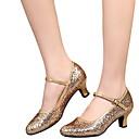 povoljno Stare svjetske nošnje-Žene Plesne cipele PU Moderna obuća Štikle Kubanska potpetica Crn / Zlato / Srebro