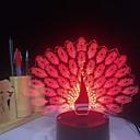 billige 3D Nattlamper-3d led nattlys med påfuglhale 7 farger skiftende dyr bordlamper gaver til bolig dekorasjon