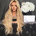 Χαμηλού Κόστους Συνθετικές περούκες με δαντέλα-Συνθετικές Περούκες Κατσαρά Ίσια Μέσο μέρος Περούκα Μακρύ Blonde Συνθετικά μαλλιά 26 inch Γυναικεία Γυναικεία Σκούρο Καφέ