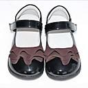 ราคาถูก รองเท้าผ้าใบเด็ก-เด็กผู้หญิง รองเท้าสาวดอกไม้ PU รองเท้าส้นเตี้ย เด็กน้อย (4-7ys) สีดำ ฤดูร้อน
