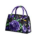 povoljno Tote torbe-Žene Cvijet Poliester Torba s ručkom Vez Crn / Lila-roza / purpurna boja