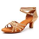 ราคาถูก รองเท้าแบบลาติน-สำหรับผู้หญิง รองเท้าเต้นรำ ซาติน ลาติน ส้น ส้นCuban สีดำ / สีน้ำตาล / ขาว