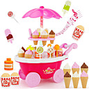 billiga Jobb- och rollspelsleksaker-Ice Cream Cart Toy Leksaksmat Låtsaslek Mat & Dryck Glass Efterrätt Barnsäkert Barn Småbarn Flickor Leksaker Present 39 pcs