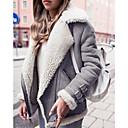 ราคาถูก วิกผมสังเคราะห์-สำหรับผู้หญิง ทุกวัน ฤดูใบไม้ร่วง & ฤดูหนาว ปกติ Faux Fur Coat, สีพื้น Turndown แขนยาว ขนสัตว์เทียม สีดำ / สีบานเย็น / สีเทา