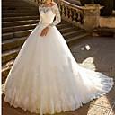 Χαμηλού Κόστους Νυφικά-Βραδινή τουαλέτα Ώμοι Έξω Μακριά ουρά Δαντέλα / Τούλι / Δαντέλα πάνω από σατέν Μακρυμάνικο Γοητευτικός Λάμψη & Στυλ Φορέματα γάμου φτιαγμένα στο μέτρο με / Καμπάνα