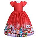 baratos Oktoberfest-Infantil Para Meninas Activo Doce Floco de Neve Natal Estampado Manga Curta Médio Vestido Vermelho