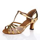 baratos Sapatos de Dança Latina-Mulheres Sapatos de Dança Couro Ecológico Sapatos de Dança Latina Salto Salto Cubano Personalizável Dourado