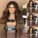cheap Human Hair Wigs-Synthetic Wig kinky Straight Style Middle Part Wig Long Dark Brown / Dark Auburn Synthetic Hair 26 inch Women's Women Dark Brown Wig