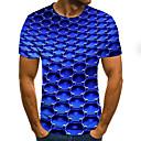 billige T-skjorter og singleter til herrer-Rund hals Store størrelser T-skjorte Herre - Geometrisk / 3D / Grafisk, Flettet / Trykt mønster Gatemote Blå / Kortermet