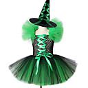 Χαμηλού Κόστους Κοστούμια για Ενήλικες-Παιδιά Νήπιο Κοριτσίστικα Ενεργό Βασικό Patchwork Χριστούγεννα Halloween Δίχτυ Αμάνικο Ως το Γόνατο Φόρεμα Πράσινο του τριφυλλιού