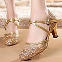 billiga Ballroom-skor och dansskor för modern dans-Dam Moderna skor / Sällskap Imitationsläder Högklackade Kubansk klack Dansskor Guld / Silver / Prestanda