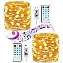 baratos Ferragens para Portas e Fechaduras-KWB 20m Cordões de Luzes 200 LEDs Controlador remoto de 17 teclas Branco Quente / Branco / Multicolorido Impermeável / Festa / Adorável Carregamento USB 1conjunto