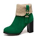 billige Mote Boots-Dame Støvler Tykk hæl Rund Tå Spenne Semsket lær Ankelstøvler Vintage / minimalisme Vår & Vinter / Høst vinter Svart / Oransje / Grønn / Fargeblokk