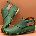 billige Mote Boots-Dame Støvler Komfort Sko Flat hæl Rund Tå Spenne PU Ankelstøvler Vintage / minimalisme Vår & Vinter / Høst vinter Gul / Grønn / Rød