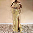 ราคาถูก ชุดเต้นรำลาติน-สำหรับผู้หญิง สง่างาม ปลอก แต่งตัว - ลายเลื่อม ไหล่ตก แสงระยิบระยับ, สีพื้น ขนาดใหญ่ ไหล่ตก