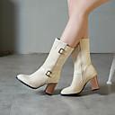 ราคาถูก รองเท้าบูตผู้หญิง-สำหรับผู้หญิง บูท ส้นหนา Pointed Toe หัวเข็มขัด หนังนิ่ม บู้ทสูงระดับกลาง ไม่เป็นทางการ / minimalism ฤดูใบไม้ผลิ & ฤดูใบไม้ร่วง / ฤดูใบไม้ร่วง & ฤดูหนาว สีดำ / สีเหลือง / แดง