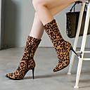 billige Mote Boots-Dame Støvler Trykk sko Stiletthæl Spisstå Semsket lær / PU Støvletter Fritid / minimalisme Vår & Vinter / Høst vinter Svart / Leopard / Hvit