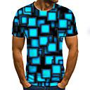 billiga Partyhatt-Plisserad / Tryck, Geometrisk / Färgblock / 3D T-shirt - Streetchic Herr Marinblå