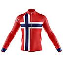 ราคาถูก เสื้อปั่นจักรยาน-21Grams นอร์เวย์ ธงประจำชาติ สำหรับผู้ชาย แขนยาว Cycling Jersey - สีดำ / สีแดง จักรยาน เสื้อยืด Tops รักษาให้อุ่น ทน UV ระบายอากาศ กีฬา ฤดูหนาว 100% โพลีเอสเตอร์ ขี่จักรยานปีนเขา Road Cycling