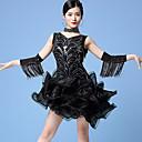 ราคาถูก ชุดเต้นรำลาติน-ชุดเต้นละติน Outfits สำหรับผู้หญิง การฝึกอบรม / Performance ตารางไขว้ / เลื่อม ระบาย Cascading / พู่ / ปักเลื่อม เสื้อไม่มีแขน ธรรมชาติ ชุดเดรส / แขนเสื้อ / Neckwear