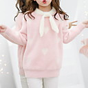Χαμηλού Κόστους Παιδικές μπότες-Παιδιά Κοριτσίστικα Βασικό Γεωμετρικό Στάμπα Μακρυμάνικο Πουλόβερ & Ζακέτα Ανθισμένο Ροζ