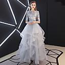 baratos Acessórios de Cabelo-De Baile Decorado com Bijuteria Longo Tule / Paetês Elegante & Luxuoso / Brilho & Glitter Baile de Formatura Vestido 2020 com Camada / Babados em Cascata