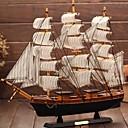 billige Kunsthåndverk-Middelhavet trehåndverk seilbåt figur ornament vintage simulering seilbåt modell skip tilfeldig farge