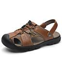Χαμηλού Κόστους Αντρικά Πέδιλα-Ανδρικά Παπούτσια άνεσης Δερμάτινο Καλοκαίρι / Ανοιξη καλοκαίρι Κλασσικό / Καθημερινό Σανδάλια Μη ολίσθηση Μαύρο / Καφέ