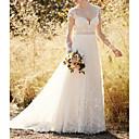 billige Bryllupskjoler-A-linje Kjære Svøpeslep Chiffon / Blonder Langermet Vakker rygg Made-To-Measure Brudekjoler med Sløyfe(r) / Knapper 2020
