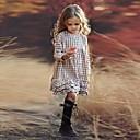 Χαμηλού Κόστους Φορέματα για κορίτσια-Παιδιά Κοριτσίστικα Houndstooth Στάμπα Μακρυμάνικο Ως το Γόνατο Φόρεμα Μπεζ