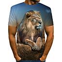 billige Magnetiske leker-T-skjorte Herre - Fargeblokk / 3D / Dyr, Trykt mønster Vintage / Rock Løve Brun