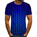 billige T-skjorter og singleter til herrer-T-skjorte Herre - Polkadotter / Geometrisk / 3D, Flettet / Trykt mønster Gatemote Blå