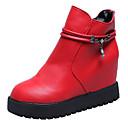 זול מגפי נשים-בגדי ריקוד נשים מגפיים עקב סמוי בוהן עגולה PU מגפיים באורך אמצע - חצי שוק מִעוּטָנוּת סתיו שחור / אדום / אפור