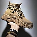 billige Herrestøvler-Herre Fashion Boots Lær Høst vinter Britisk Støvler Skli Svart / Beige / Kakifarget
