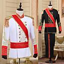 Χαμηλού Κόστους Στολές της παλιάς εποχής-Πρίγκηπας Ρετρό / Βίντατζ Μεσαίωνα Επίστρωση Παντελόνια Σύνολα Χορός μεταμφιεσμένων Ανδρικά Στολές καπέλο Μαύρο / Λευκό Πεπαλαιωμένο Cosplay Πάρτι Μακρυμάνικο Παντελόνια / Ζώνη / Κορδέλα