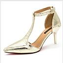baratos Sapatos de Salto-Mulheres Saltos Salto Agulha Dedo Apontado Couro Ecológico Verão Dourado / Prata / Diário