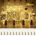 billige Negleklistremerker-12stk 20 ledede vinflaskelys kobbertråd fe strenger lys hvit flaske stopper atmosfære lampe til jul xmas ferie festival di hjem fest dekorasjon nåværende gave