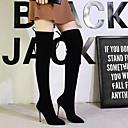 olcso Női csizmák-Női Csizmák Over-the-térd csizma Vaskosabb sarok Erősített lábujj Fordított bőr Térdig érő csizmák Vintage / minimalizmus Tavasz & Ősz / Ősz & tél Fekete / Party és Estélyi