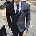 baratos Artigos para Cílios-Azul Marinha / Cinzento Listrado Fino Poliéster Terno - Notch / Paletó Comum 1 Botão / Suits