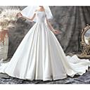 Χαμηλού Κόστους Νυφικά-Γραμμή Α Ώμοι Έξω Ουρά Σατέν Κοντομάνικο Φορέματα γάμου φτιαγμένα στο μέτρο με 2020